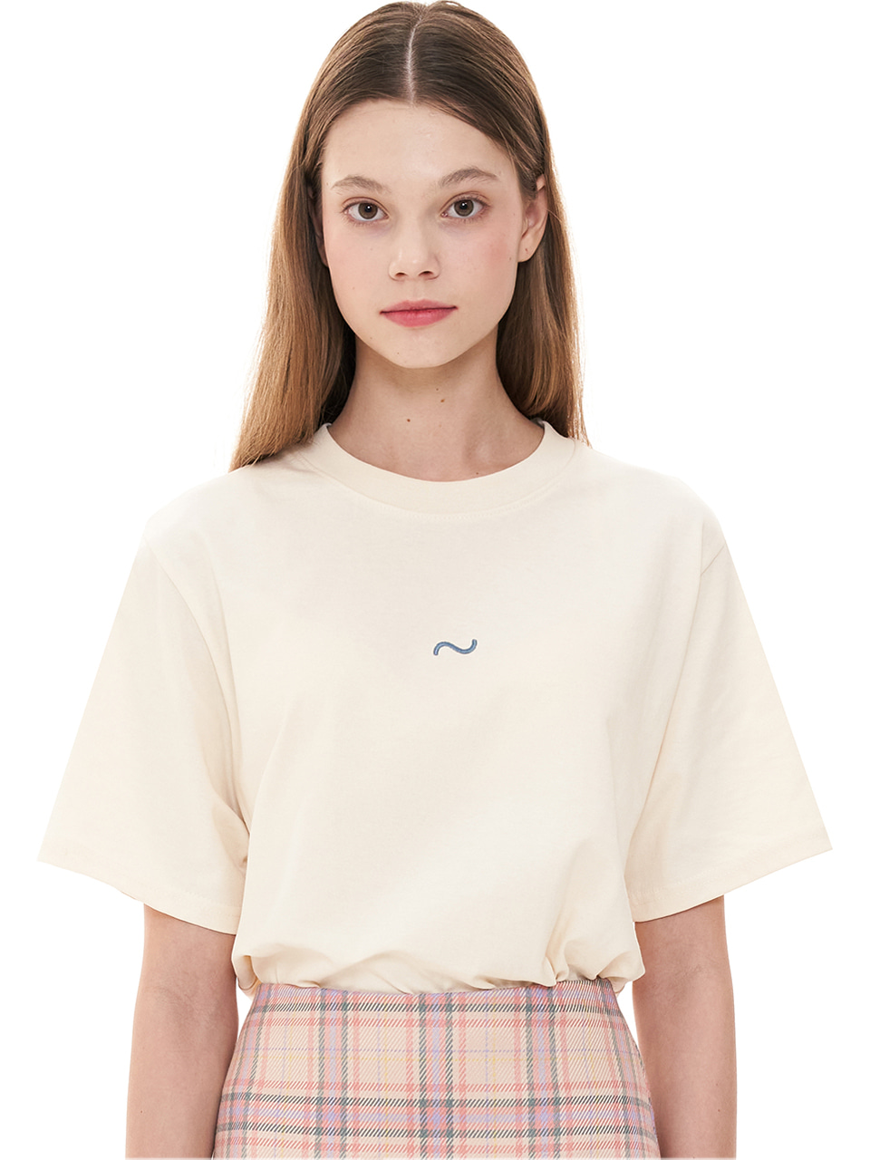 (CTC1) WAVE ICON EMBROIDERY T-SHIRTS BEIGE