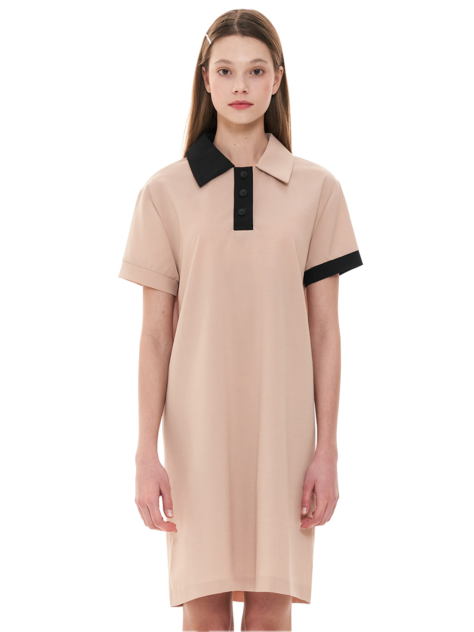 (CTC1) BOXY COLORED COLLAR DRESS BEIGE