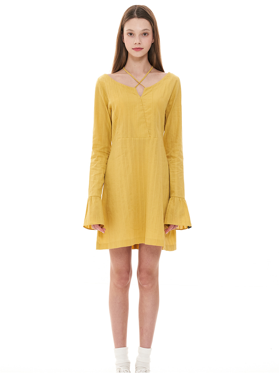 (CTC1) EMBROIDERY V-NECK DRESS YELLOW