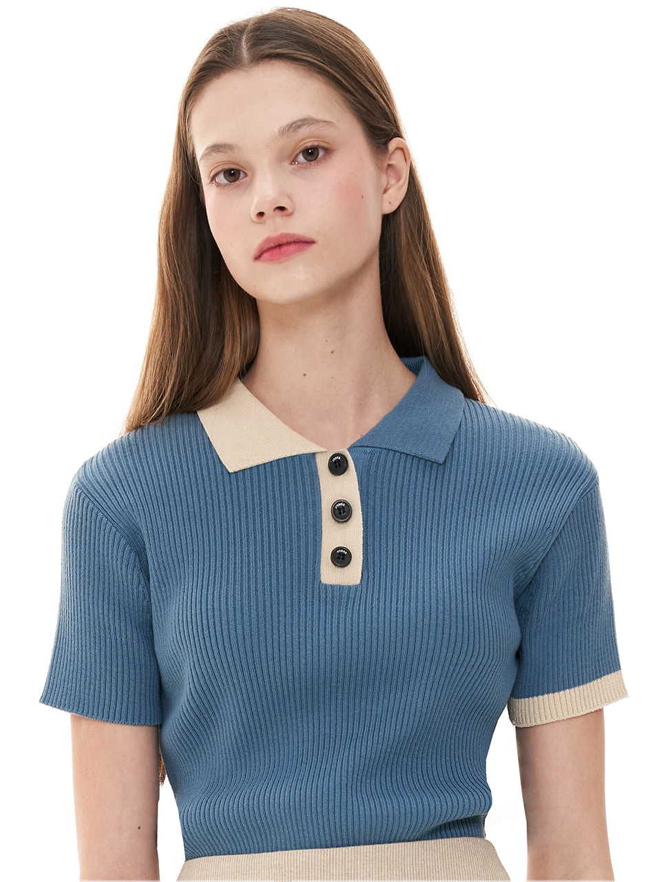 (CTC1) COLORED COLLAR TOP KNIT EDITION BLUE