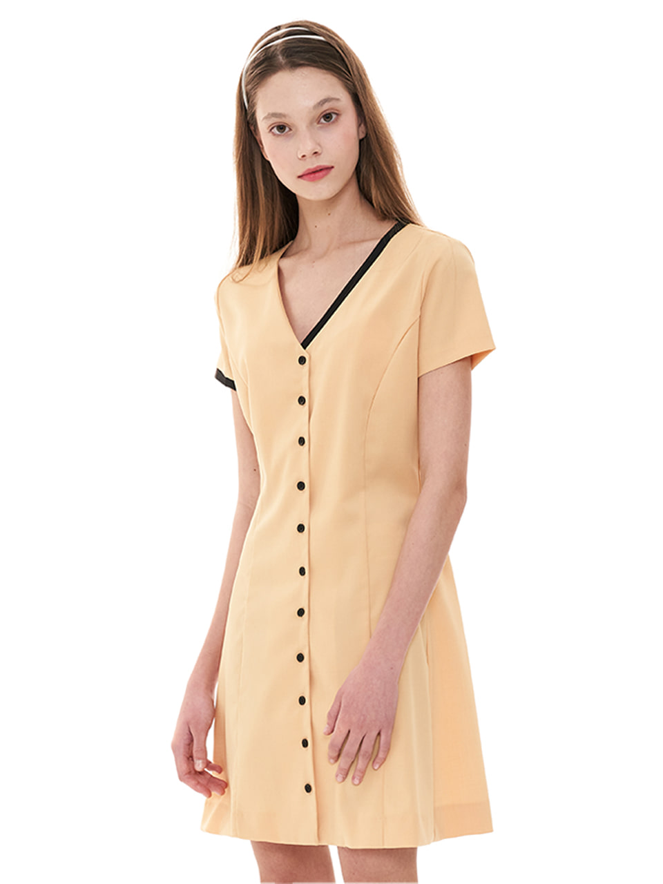 (CTC1) COLORED V-NECK DRESS YELLOW