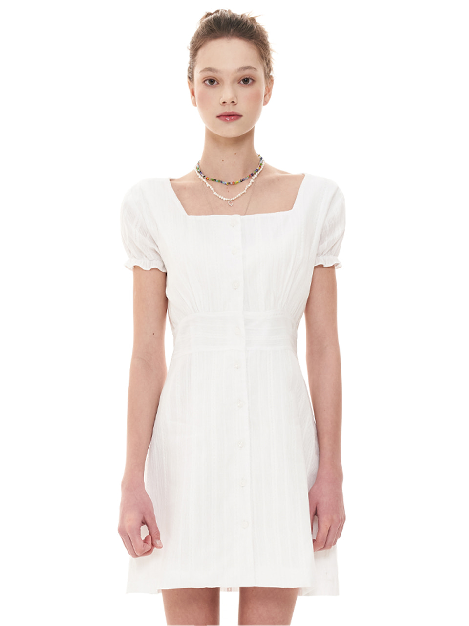 (CTC1) EMBROIDERY SQUARE-NECK DRESS WHITE