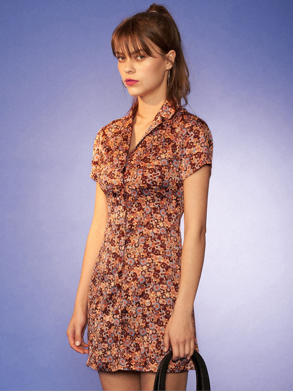 (CTC2) CITY VINTAGE FLOWER DRESS BROWN
