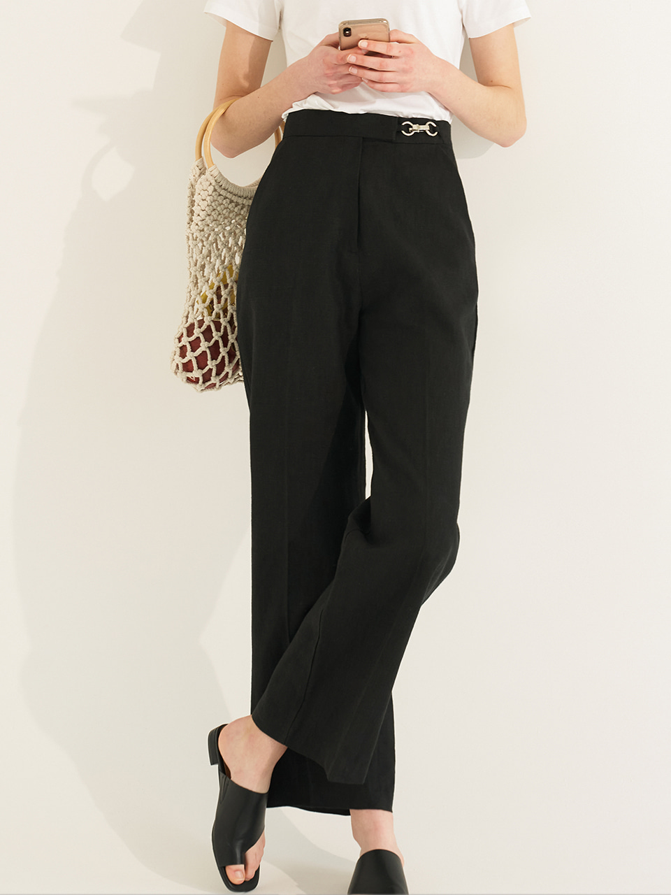 (CTC2) BREEZE METAL RING LONG PANTS BLACK