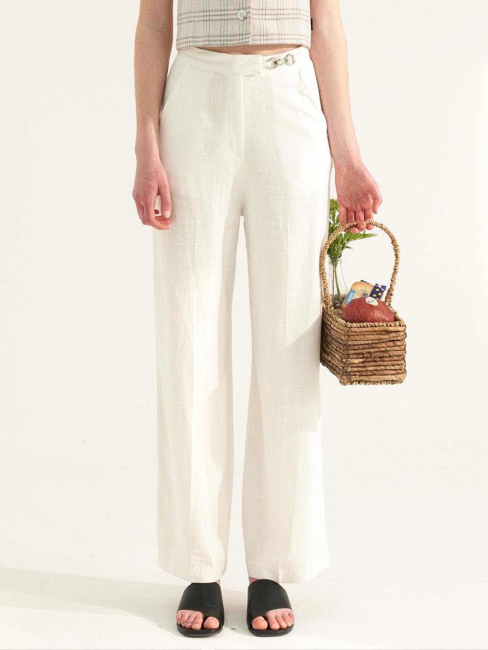(CTC2) BREEZE METAL RING LONG PANTS WHITE
