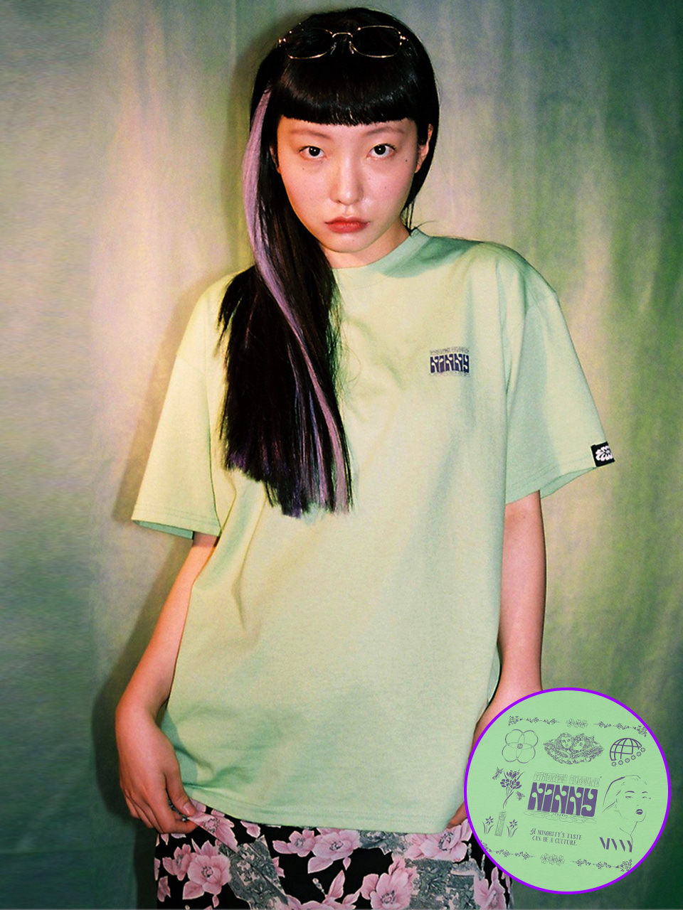 (CTC2) NINNY GRAPHIC T-SHIRTS LIME