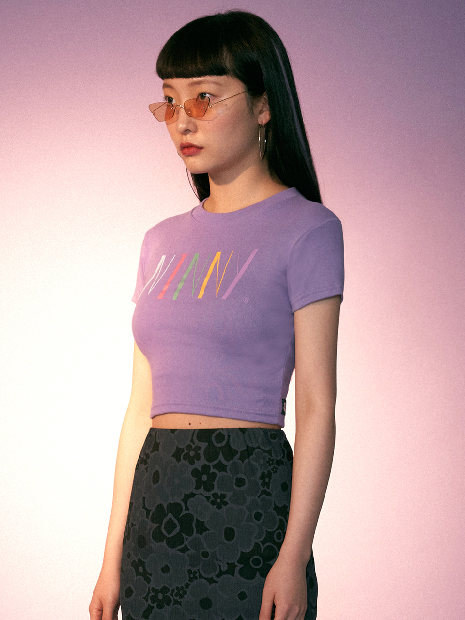 (CTC2) NINNY RAINBOW LOGO CROP TOP LILAC